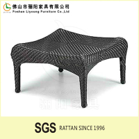 Cheap Leisure Outdoor Furniture with Footstool Antique Sunproof Outdoor Wicker Ottomans Rattan Wicker Stool Plastic Woven Stool