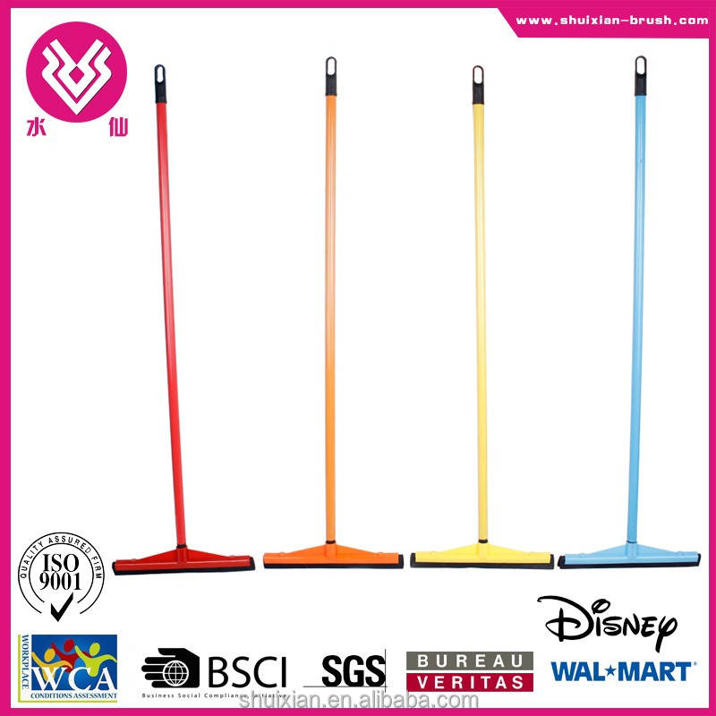 Colorful floor and window squeegee floor broom and brush