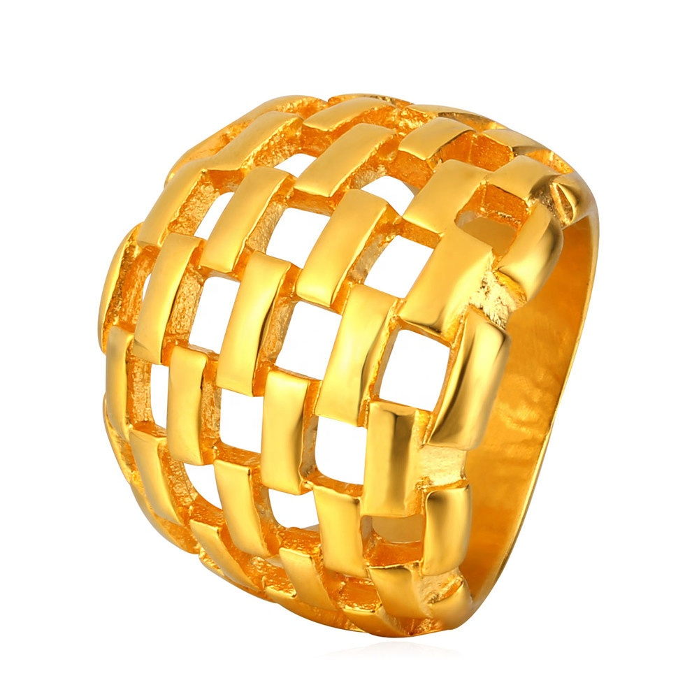 titanium steel based 18K gold plated Big hollow mens <strong>ring</strong>