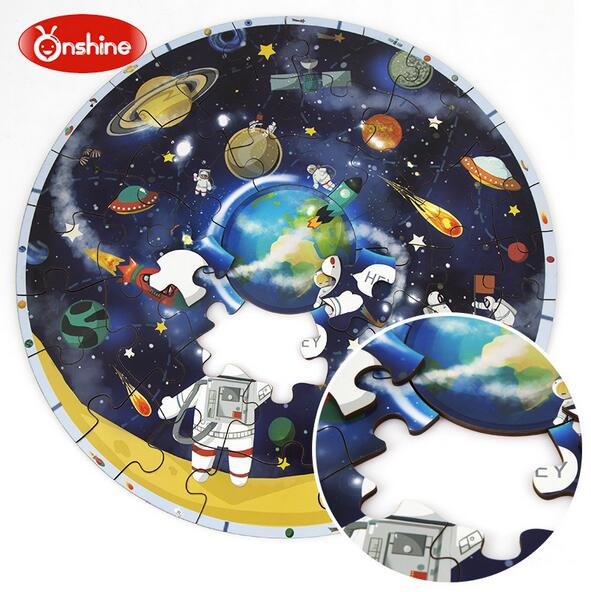 Onshine big wooden puzzle children 'seducational toys cartoon planet world map puzzle