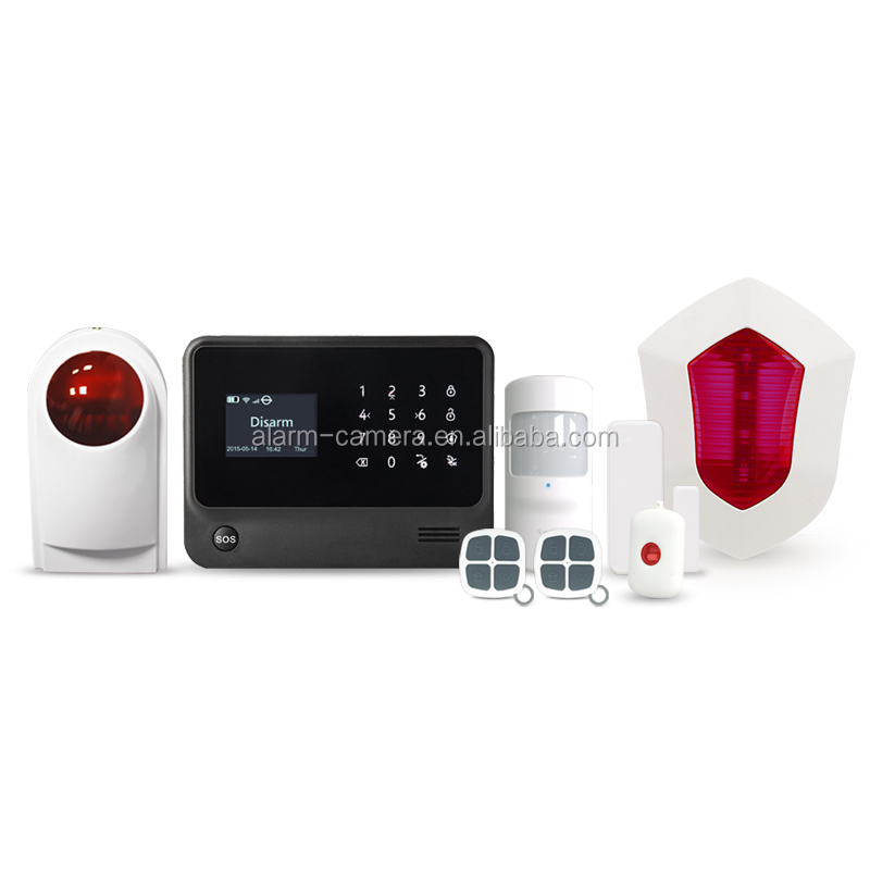 Touch keypad WIFI/GPRS/SMS home security alarm system with 8 wired and 100 wireless zones,work with wireless and wired detectors