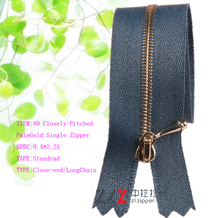 Small smoothness zipper metal light gold zipper for handbags