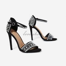Embellished Stiletto Heels In Black Suede women sandals 2017 new model fashion lady shoes