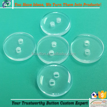Custom Polyester Buttons 2 Holes Transparent/Clear Plastic Shirt Resin Button Garment Accessories