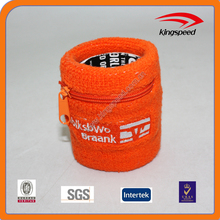 Hot sale cotton zipper pocket wristbands with customized logo for outdoor sports