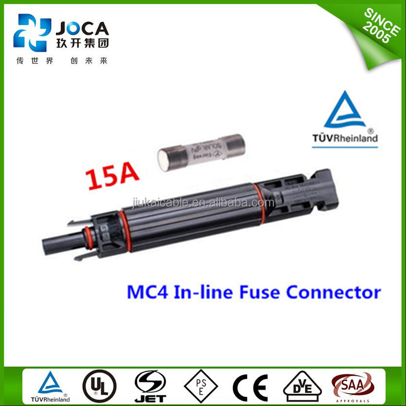 15 A MC4 series fuse connected solar panels cable connector