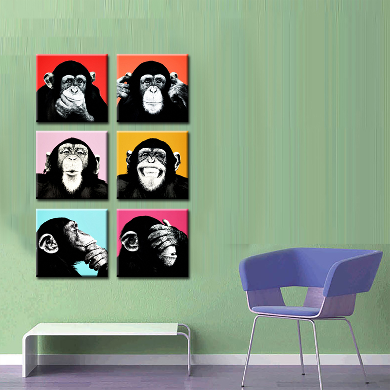 the best cute monkey printed oil painting for home decoration canvas <strong>art</strong>