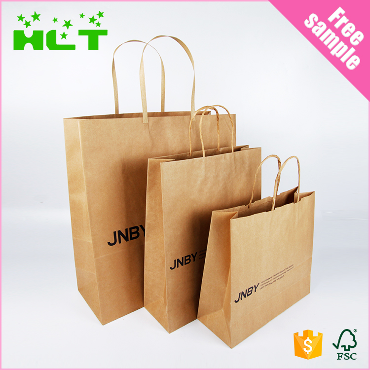 Cotton cloth carry bag cheap brown custom paper bag with logo print