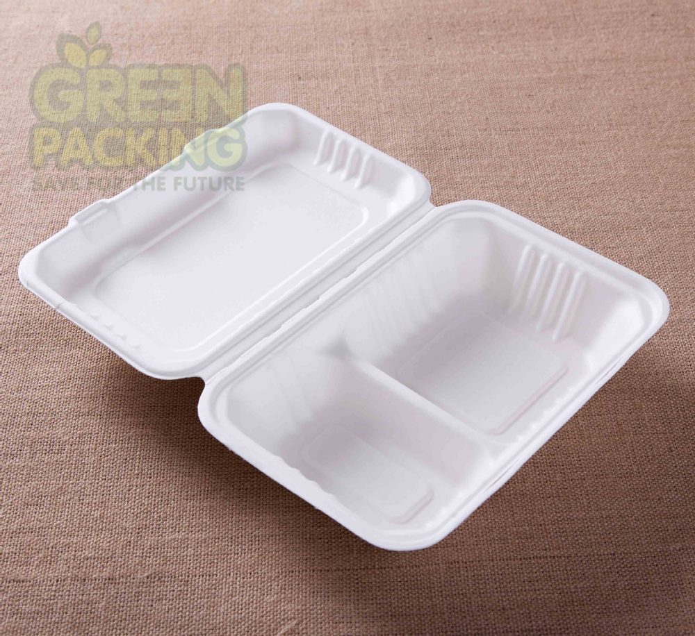 Biodegradable sugarcane bagasse 1000ml food container 9x6 inch