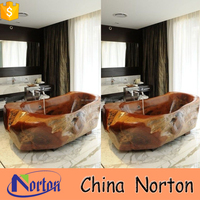 Western red natural marble deep bathtub bathroom for home decoration NTS-BA010L