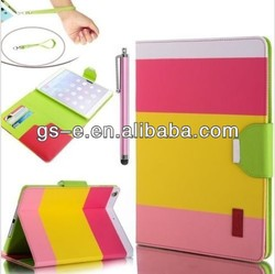 flip leather case for ipad air ipad 2/3/4 three colour wallet case with card slots