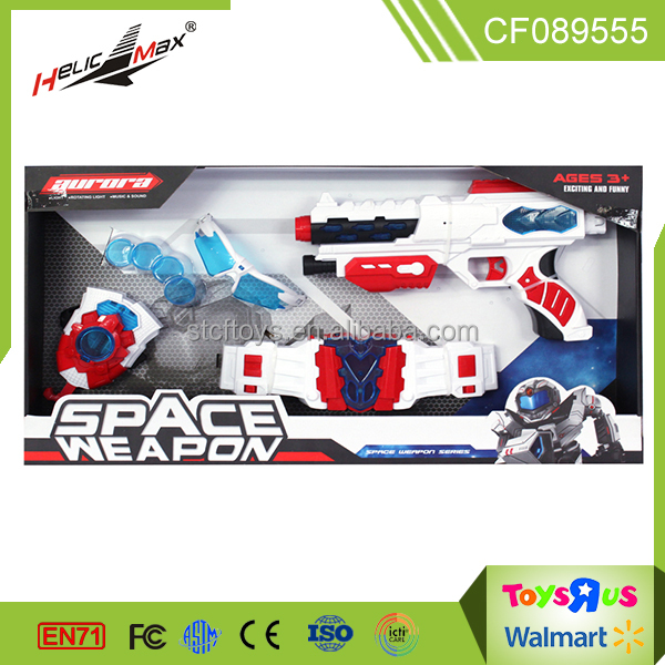 christmas light up battery operated toy <strong>guns</strong> for sale space launcher with cosplay belt toy for kids