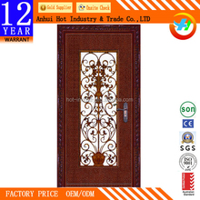 New Products Lowes Wrought Iron Security Door Residential Steel Entry Iron Doors with Tempered Glass