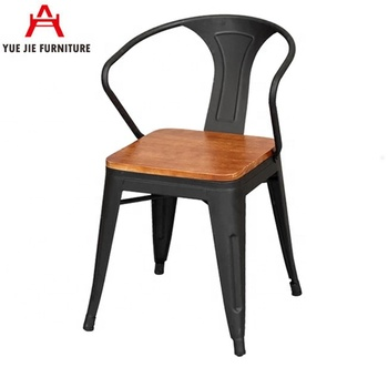 Wooden Seat Metal Armrest Chair