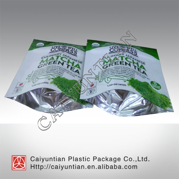 Heat seal OEM biodegradable matcha green tea package environmental customized low price bag