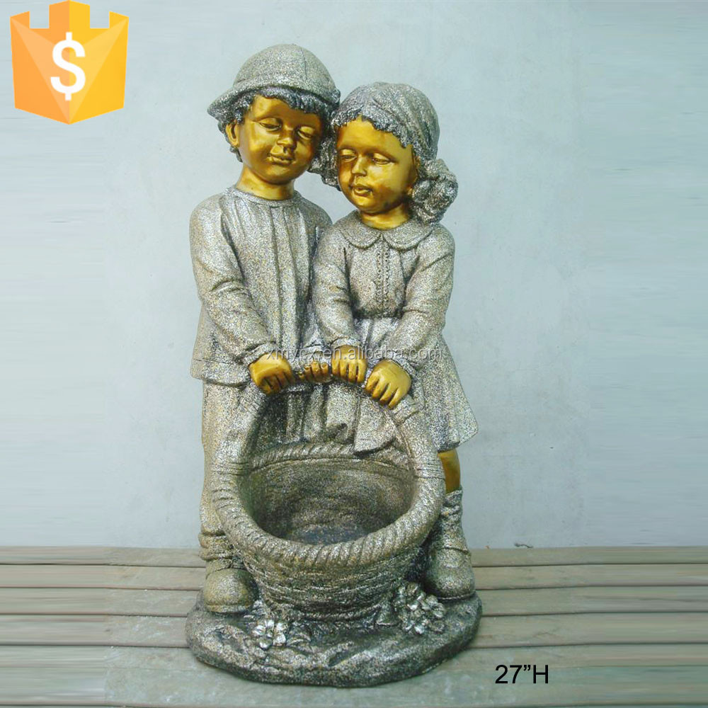 Standing garden decoration figure boy and girl figurines