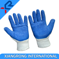 Crinkle finished blue latex coated white poly cotton work gloves