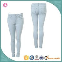 Wholesale Dongguan sexy washed womens custom fit jeans