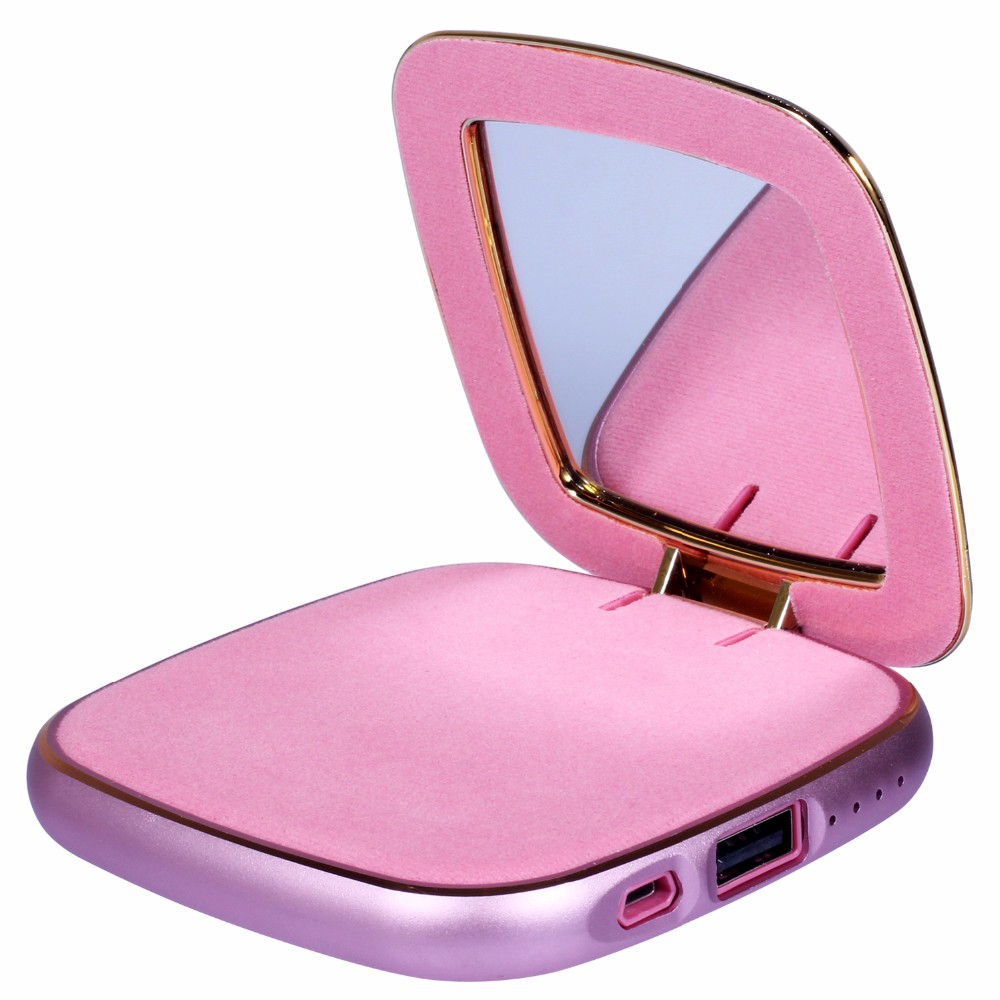 pu leather mirror power bank charger