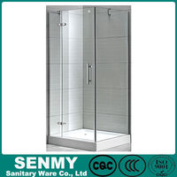Square blind via hold glass design adjustable aluminium profile acrylic base or tray hinge opened enclosed steam shower room