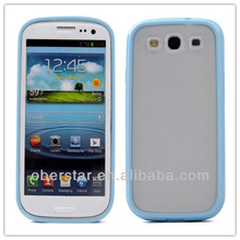 Soft TPU Bumper Frame Matte Clear Cover For Samsung Galaxy S3 i9300 Hard Back Case
