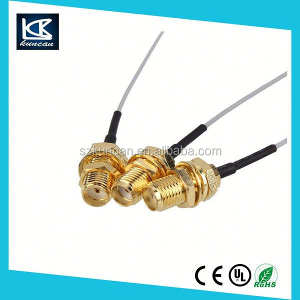 RF antenna cable assembly rg6 coaxial cable 100mm length