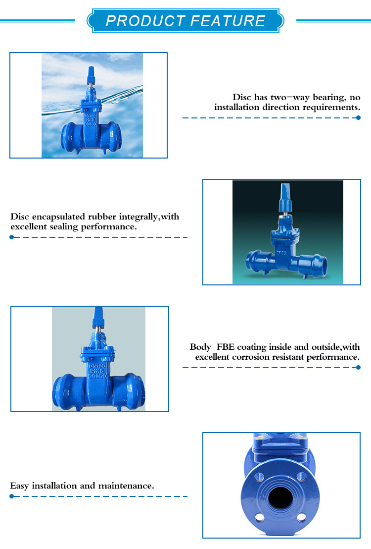 KEFA cast iron socket gate valve with gear operated