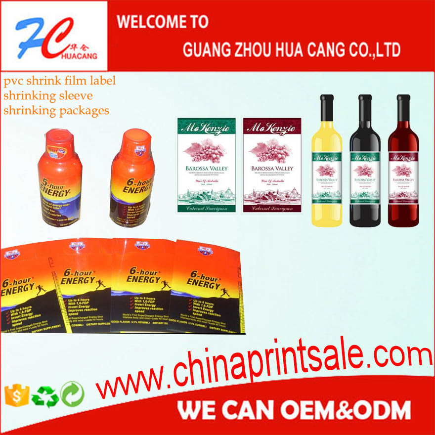 Made in China factory Price shrink label film/shrinking package/bottle pvc label