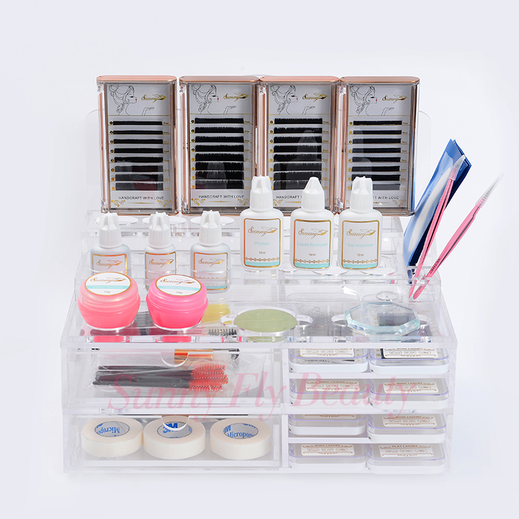 Private logo acrylic makeup cosmetic eyelash extension case storage box