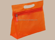 die cut handle PVC orange zipper bag
