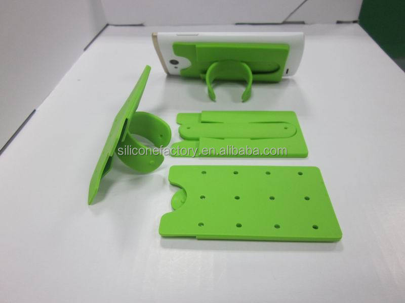 3M Sticky silicone Card Wallet with cell phone stand pocket Silicone smart wallet with stand