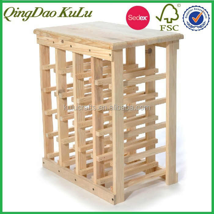 eco friendly pine wood wooden table wine rack for kitchen