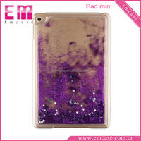 Transparent Bling Case For iPad Mini,Liquid Glitter Quicksand Hard Case For iPad mini