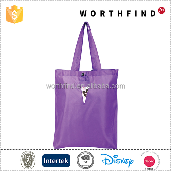 Promotional tote shopping recycled foldable bag polyester