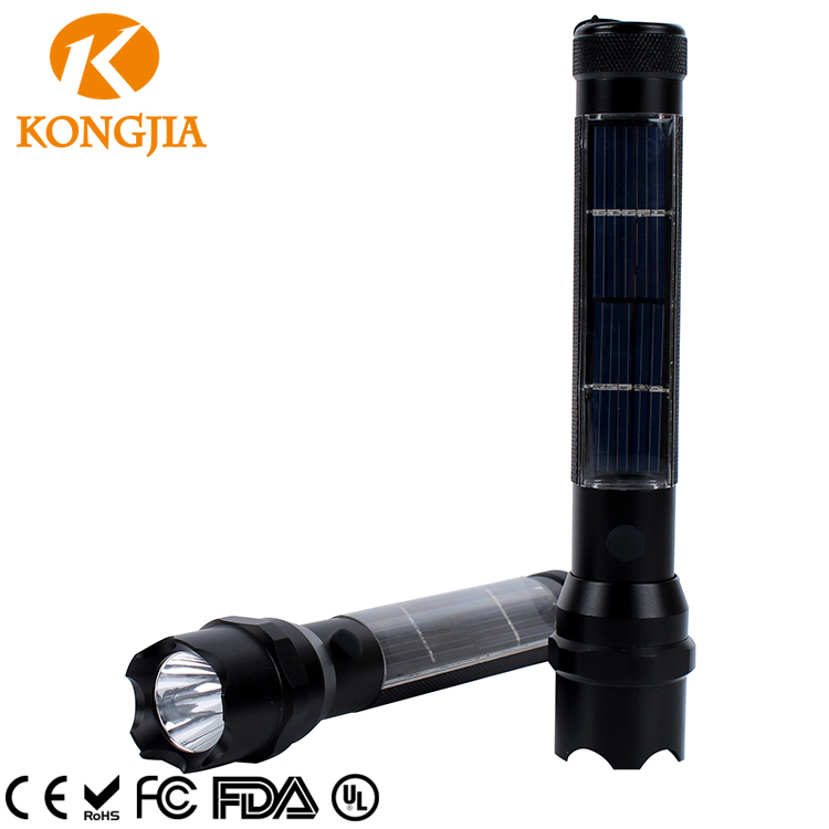 Kongjia OEM Brand Hot sale 3W 200LM Hand Crank Solar Charger Radio Flashlight .keychain solar rechargeable led Flashlight