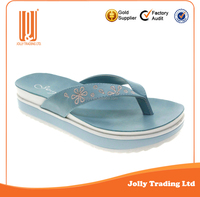 New Simple Design Chinese Embroidery Flat Slipper PU Soft Slipper