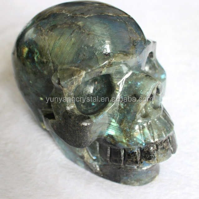 Wholesale Natural energy stone labradorite quartz crystal skull for home decoration