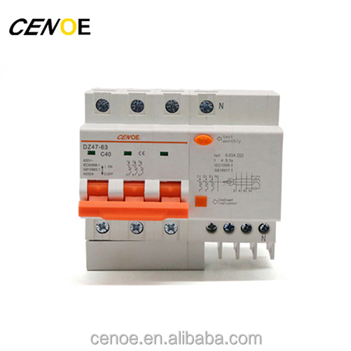 dz47le-63 3 phase mcb C40 earth leakage miniature circuit breaker