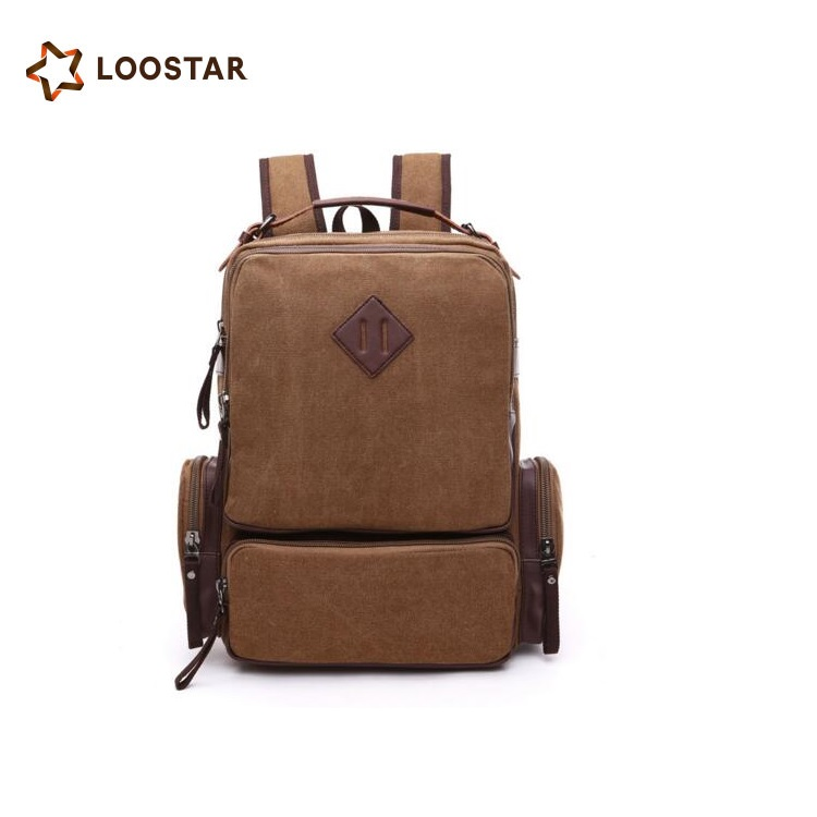 Loostar New Design Low MOQ Canvas with Real Leather School Backpack