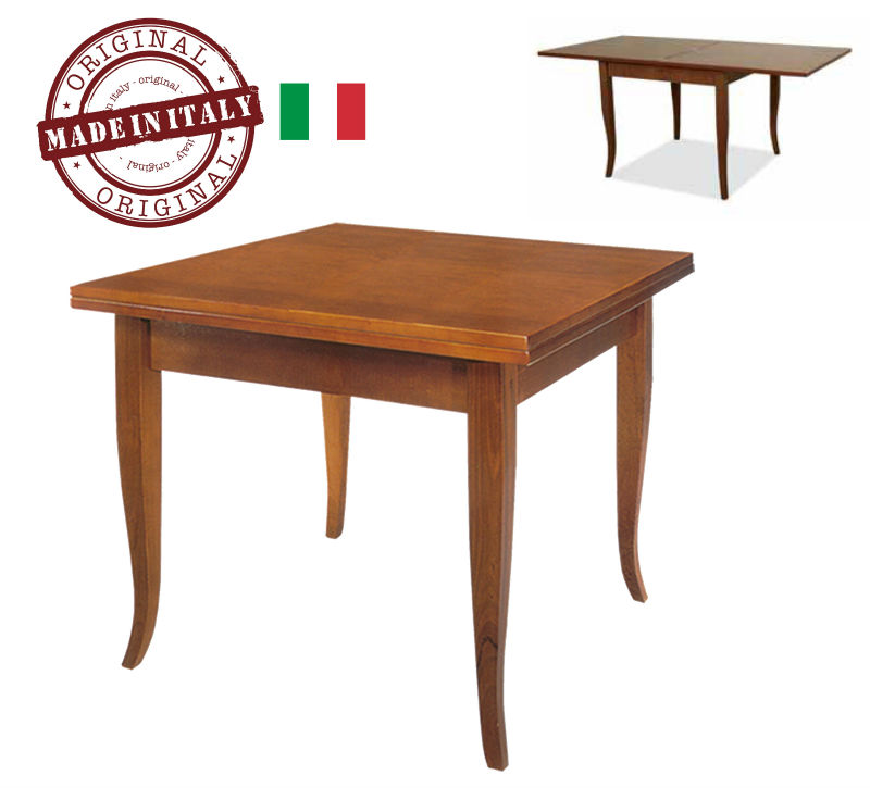 MADE IN ITALY Wooden Table SQUARE Foldable model: DUCALE with 4 feet curved - Color antique brown