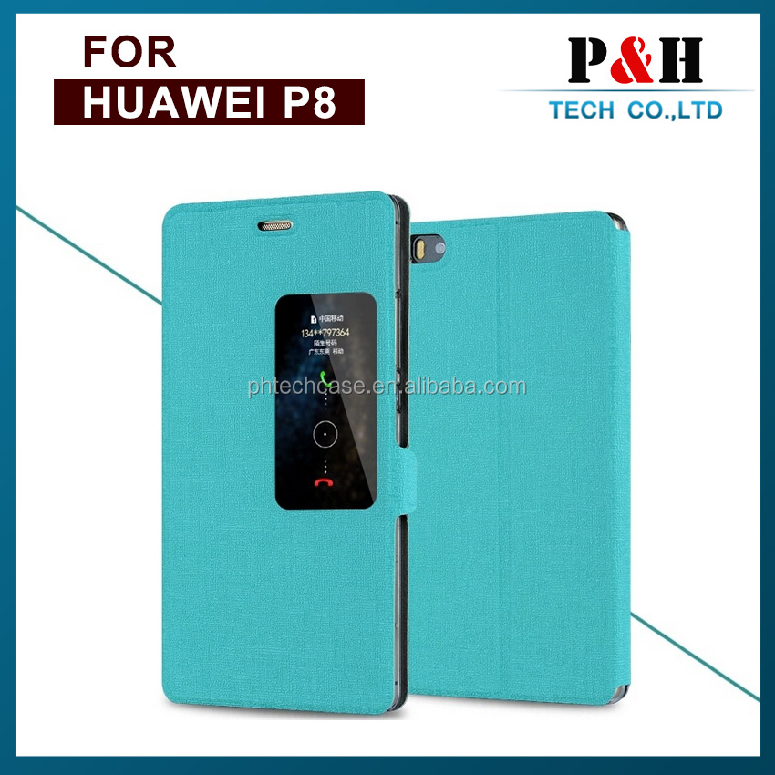 Wallet Design PU Leather Mobile Phone Flip Cover Window Case for Huawei P8