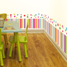New collection simple colorful stripes and flower corner baseboard wall stickers kids room