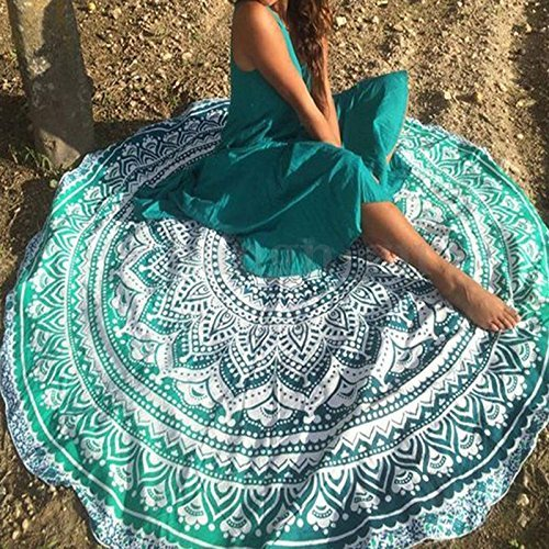 round beach throw tapestry Hippy Boho Gypsy mat Mandala beach blanket