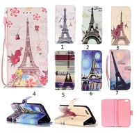 Mobile Phone Leather Case Paris Eiffel Tower Pattern Leather Case for iphone 7