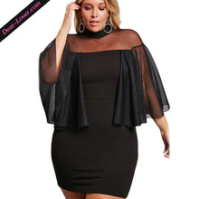 Black Plus Size Semi-sheer Evening Party Dress for Fat Women