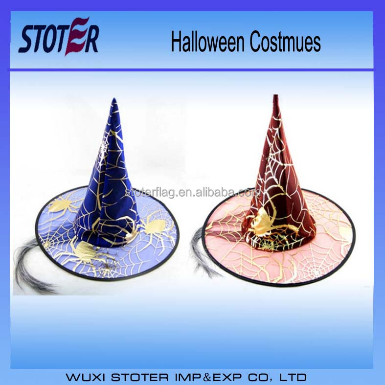 custom black pumkin printed cone halloween party witch hat wholesale