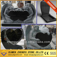Angle Heart Shape Granite Monument Chinese Black Granite Tombstone