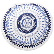 Fashion Ocean Blues Mandalas Round Beach Towel 100% cotton