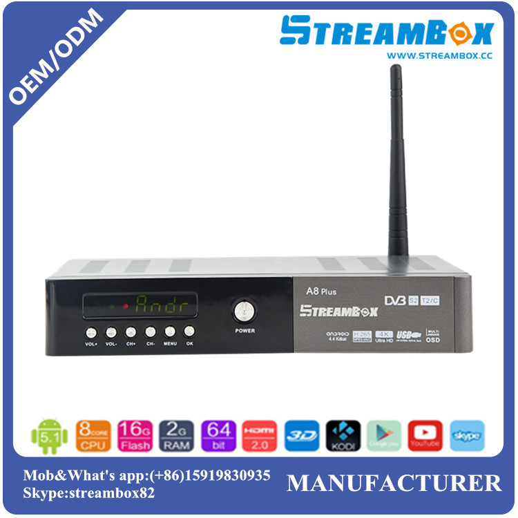 Stream CA Card EMM Auto-update DVB-T2+S2-C Digital HD Combo Android Satellite TV Receiver With Sim Card