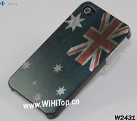 Australia Flag Retro Somked Style Printing Plastic Hard Case for iPhone 4S Hot Sale+Factory Direct Sale
